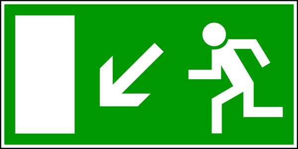 Rettungszeichen, Notausgang abwärts links E 13 - BGV A8