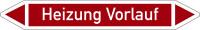 Rohrleitungskennzeichnung, Heizung Vorlauf, Einzeletikett, Folie - DIN 2404