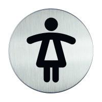WC-Piktogramm, Damen, Edelstahl, Ø 83 mm