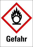 """Gefahrstoffkennzeichnung - Flamme über einem Kreis (GHS03) & Signalwort """"Gefahr"""" - Bogen à 16 Stück"""