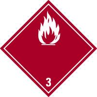 Gefahrzettel, Gefahrgutklasse 3 - Entzündbare flüssige Stoffe (rot/weiß)