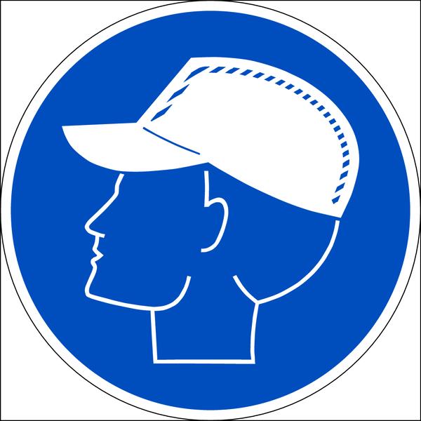 Praxisbewährtes Gebotszeichen Anstoßkappe tragen