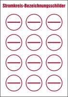Stromkreisbezeichnungsschilder zur Selbstbeschriftung, 1 VE = Bogen à 12 Stk.
