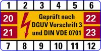 Prüfplakette, Gepr. nach DGUV Vorschrift 3 & DIN VDE 0701 - VE = 10 Plaketten