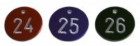 Kennzeichnungsmarken, Aluminium, farbig, fortlaufend nummeriert, Ø 30 mm - VE = 100 Stk.