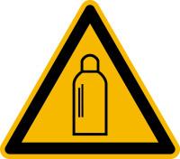 Warnzeichen, Warnung vor Gasflaschen D-W019 - DIN 4844/BGV A8