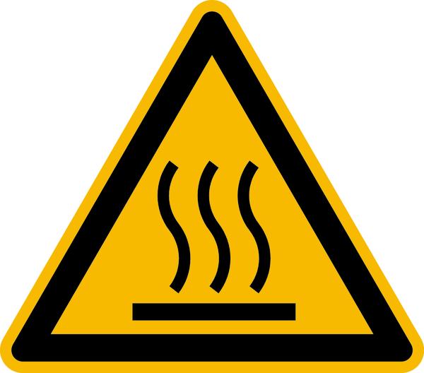 Warnzeichen, Warnung vor heißer Oberfläche W017 - ASR A1.3 (DIN EN ISO 7010)