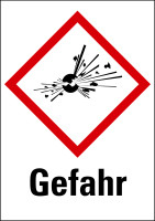 """Gefahrstoffkennzeichnung - Explodierende Bombe (GHS01) & Signalwort """"Gefahr"""" - Bogen à 16 Stück"""