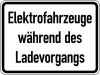 Verkehrszeichen - Elektrofahrzeuge während des Ladevorgangs, Zusatzzeichen 1050-32