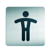WC-Piktogramm, Herren, quadratisch, Edelstahl