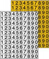 Klebezahlen, 0-9, schwarz/weiß oder schwarz/gelb - VE = 100 Ziffern