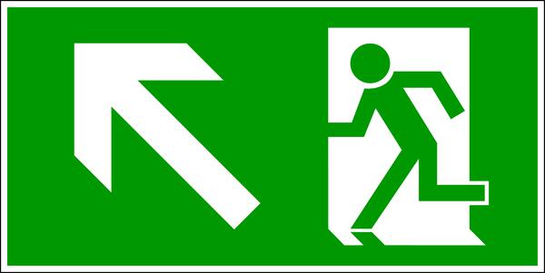 Rettungszeichen, Notausgang aufwärts links - DIN 4844