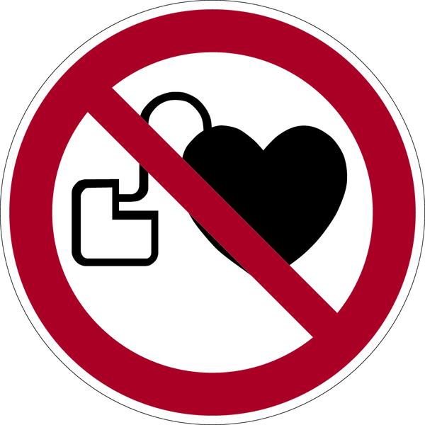 Verbotszeichen, Kein Zutritt für Personen mit Herzschrittmachern P007 - ASR A1.3 (DIN EN ISO 7010)