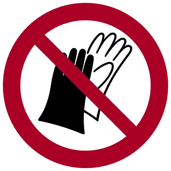 Verbotszeichen, Benutzen von Handschuhen verboten P028 - ASR A1.3 (DIN EN ISO 7010)