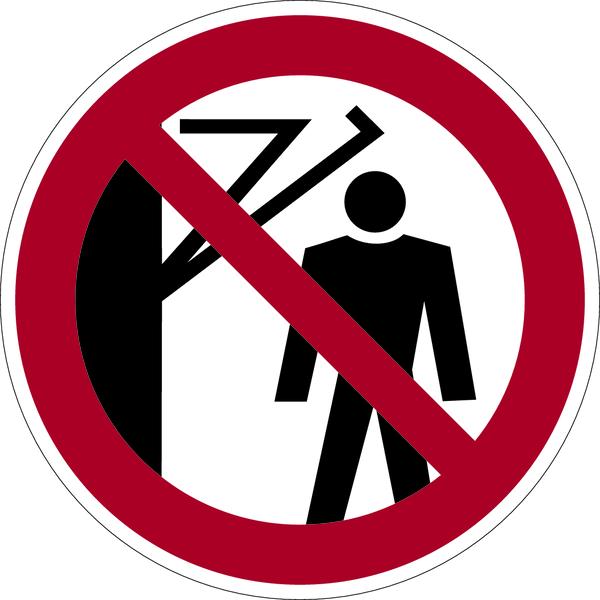 Verbotszeichen, Hinter den Schwenkarm treten verboten D-P023 - ASR A1.3 (DIN 4844)
