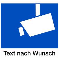 Hinweisschild, Kamerasymbol gem. DIN 33450 - Wunschtext