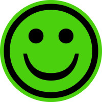 Papieretikett, Grüner Smiley - positiv - VE = Rolle à 100 Stk.