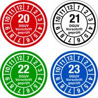 Jahresprüfplaketten, DGUV Vorschrift geprüft, Jahresfarben, Ø 35mm - VE = 10 Plaketten