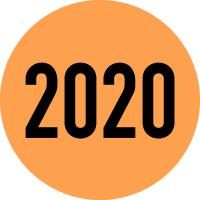 """Klebepunkte aus Papier, """"2020"""" - farbig - VE = Rolle à 500 Stk."""