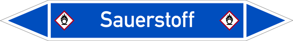 Rohrleitungskennzeichnung: Sauerstoff