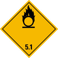 Gefahrzettel, Gefahrgutklasse 5.1 - Entzündend (oxidierend) wirkende Stoffe