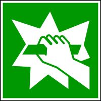 Rettungszeichen, Zerschlagen für Notausstieg E008 - ASR A1.3 (DIN EN ISO 7010)