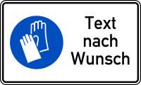 Kombischild, Handschutz benutzen + Text nach Wunsch, 150 x 250 mm