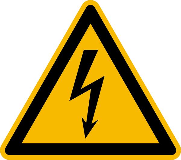 Warnzeichen, Warnung vor elektrischer Spannung W012 - ASR A1.3 (DIN EN ISO 7010)
