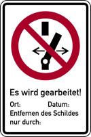 Verbotsschild, Kombischild, Nicht schalten / Es wird gearbeitet - ASR A1.3 (DIN EN ISO 7010)