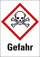 """Gefahrstoffkennzeichnung - Totenkopf mit gekreuzten Knochen (GHS06) & Signalwort """"Gefahr"""""""