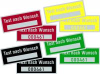 Inventaretiketten, Wunschtext, mit Freifeld, Polyesterfolie, 25 x 60 mm - VE = 100 Stk.