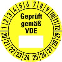 Prüfplakette, Geprüft gemäß VDE Ø 30mm - VE = 10 Plaketten