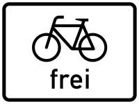 Verkehrszusatzzeichen, Radfahrer frei, Zeichen 1022-10