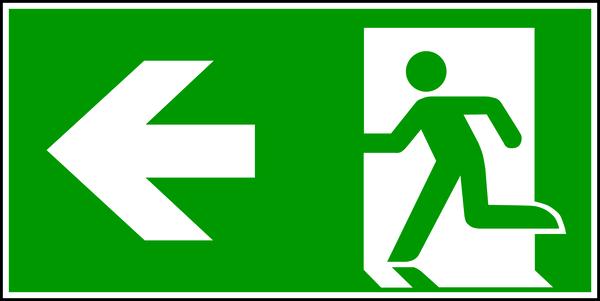 Rettungszeichen, Notausgang links - ASR A1.3 (DIN EN ISO 7010)