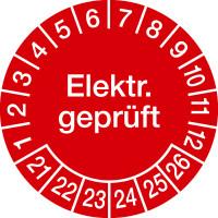 Prüfplakette, Elektr. geprüft, rot/weiß, Ø 20/30 mm - VE = 10 Plaketten
