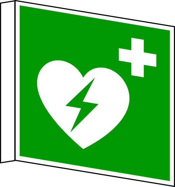 Rettungszeichen, Fahnen-/Nasenschild Defibrillator E010 - ASR A1.3 (DIN EN ISO 7010)