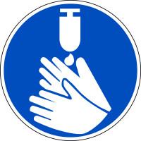 Gebotszeichen, Hände desinfizieren - praxisbewährt