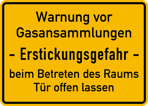Hinweisschild, Gasansammlungen, Erstickungsgefahr, 250x350mm, Alu geprägt