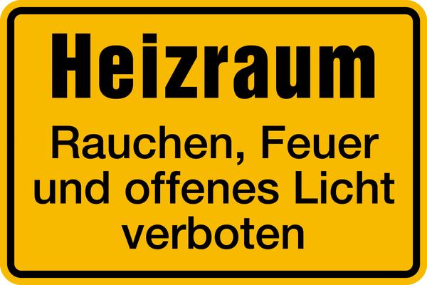 Hinweisschild, Heizraum Feuer verboten