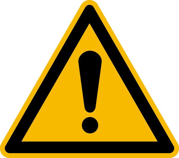 Warnzeichen, Allgemeines Warnzeichen W001 - ASR A1.3 (DIN EN ISO 7010)