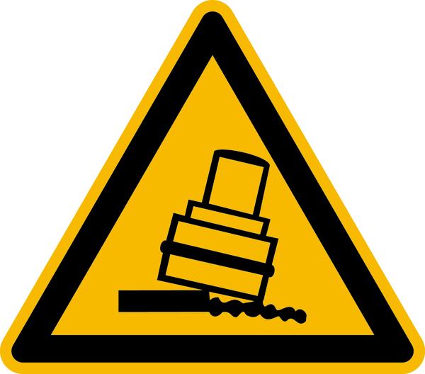 Warnzeichen, Warnung vor Kippgefahr beim Walzen D-W024 - ASR A1.3 (DIN 4844)