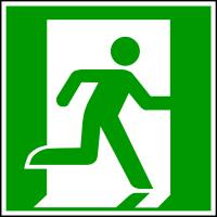 Rettungszeichen, Notausgang/Rettungsweg E002 rechtsweisend - ASR A1.3 (DIN EN ISO 7010)