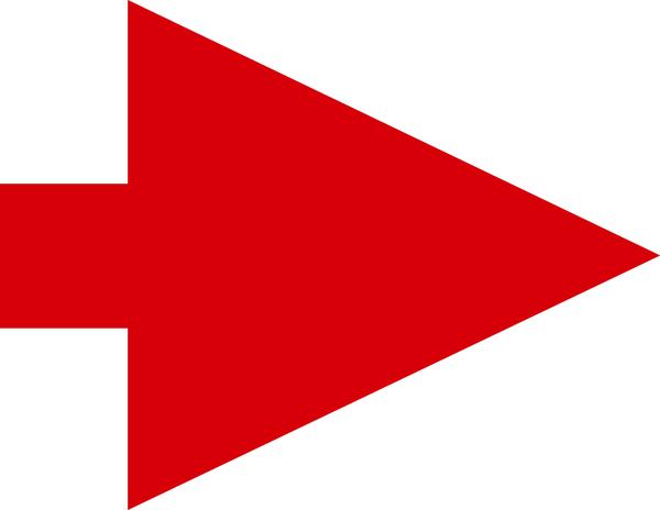 Richtungspfeil, rot / schwarz, 23x30mm - VE = 100 Stk.