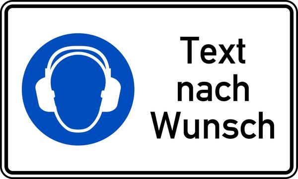 Kombischild Gehörschutz benutzen + Text nach Wunsch