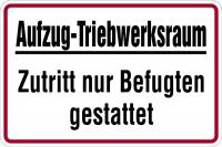 Hinweisschild, Aufzug-Triebwerksraum, 200 x 300 mm