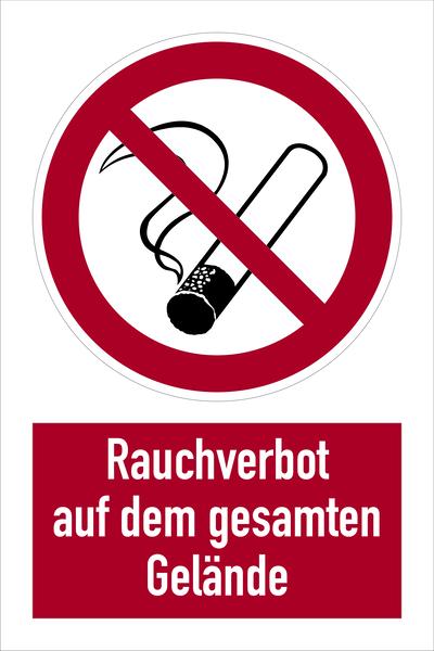 Kombischild, Rauchverbot auf dem gesamten Gelände - DIN 4844