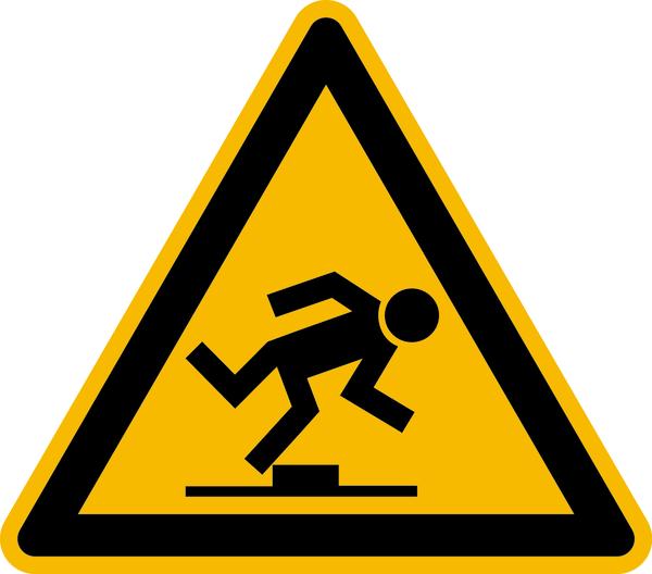 Warnzeichen, Warnung vor Stolpergefahr D-W014 - DIN 4844/BGV A8