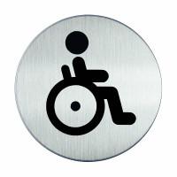 WC-Piktogramm, Rollstuhlfahrer, Edelstahl, Ø 83 mm