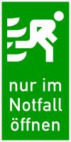 Rettungszeichen, Tür-/Fensterhinweis Nur im Notfall öffnen