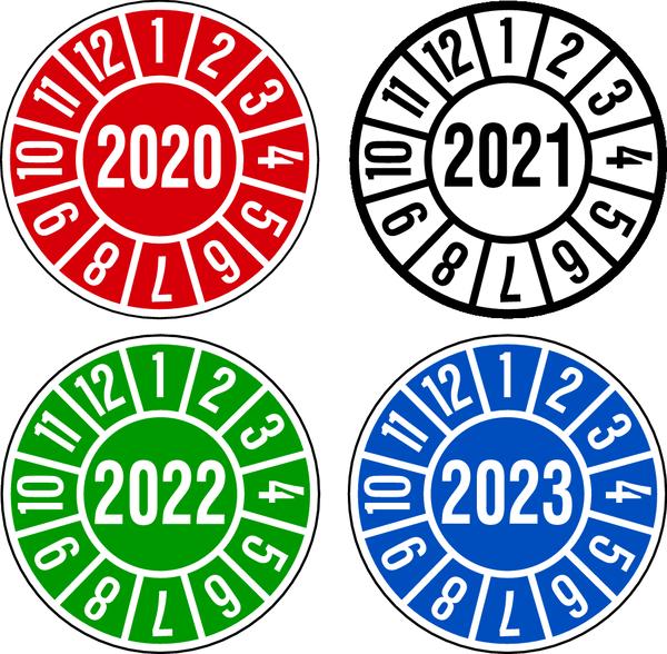 Jahresprüfplaketten in verschiedenen Farben Ø 35mm - VE = 10 Plaketten
